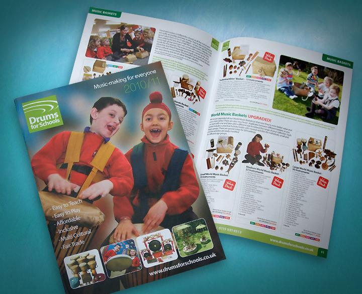 instrument catalogue design, music catalogue designers nottingham, music catalogue design, Drums for schools, musical instrument catalogue design, sheffield catalogue designers