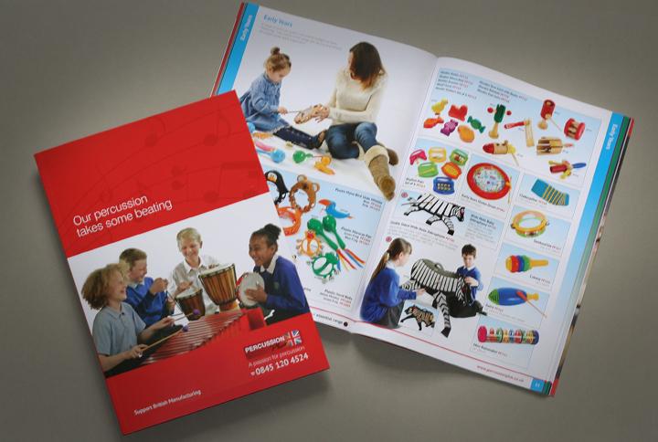 music catalogue design, catalogue designers leicester, catalogue for Percussion Plus, leicester catalogue design company