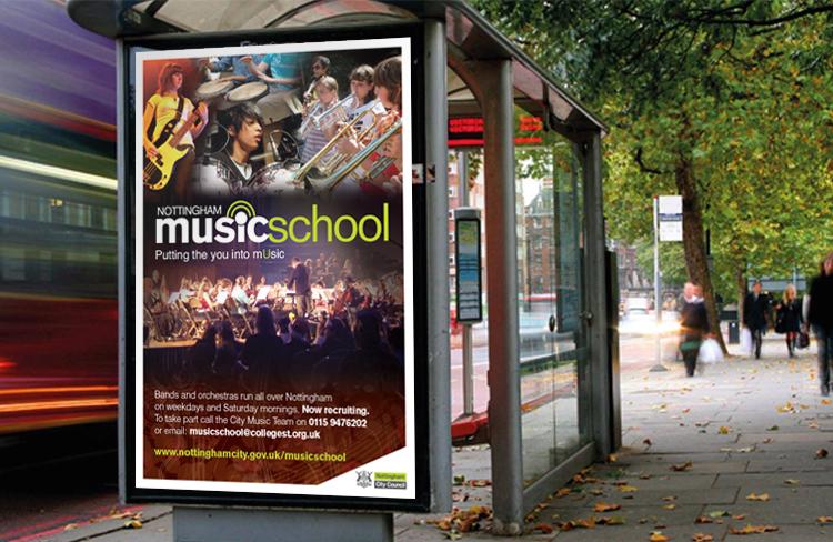 Nottingham Music School 6 sheet poster design, poster design Peak District, website design peak district, graphic design company