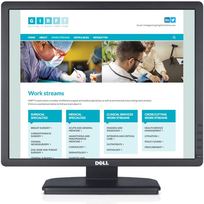GIRFT website design, healthcare web design, responsive website design peak district, hathersage web design, bakewell graphic design