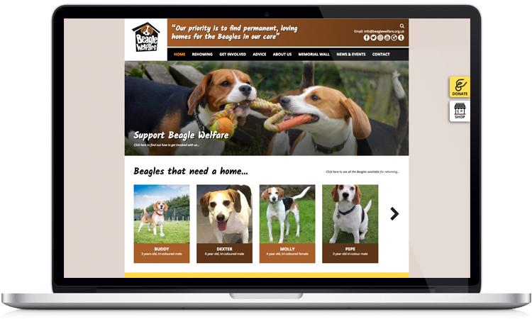 charity website designers, web design for charities, dog charity web design, website design peak district