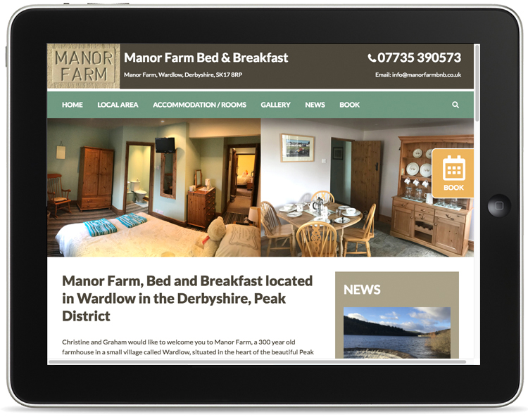 website design peak district, bed and breakfast, wardlow website design, website designers