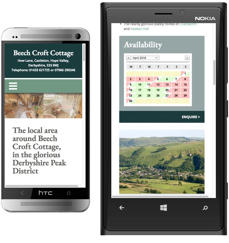 holiday cottage web design, web designers peak district, holiday cottage website design, web design castleton