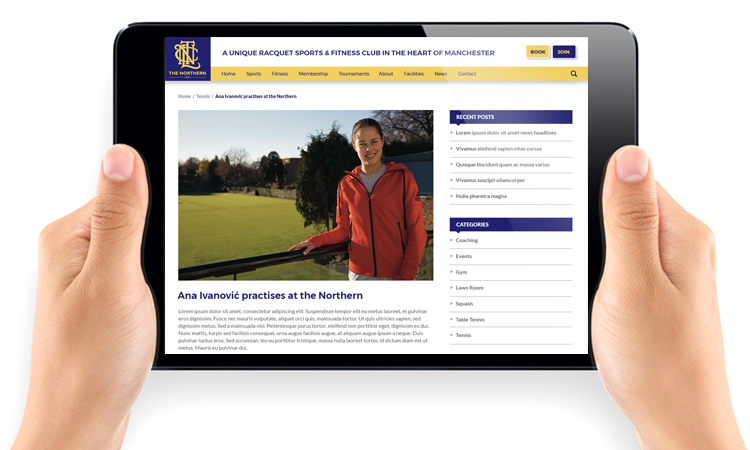 responsive tennis club website design, sports club web design